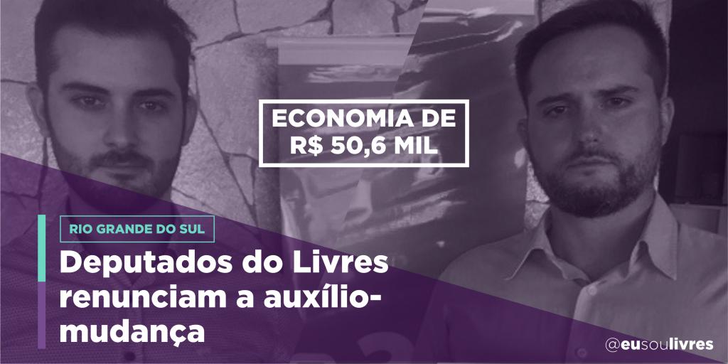 Bancada da Liberdade gaúcha recusa auxílio-mudança e economiza R$50,6 mil
