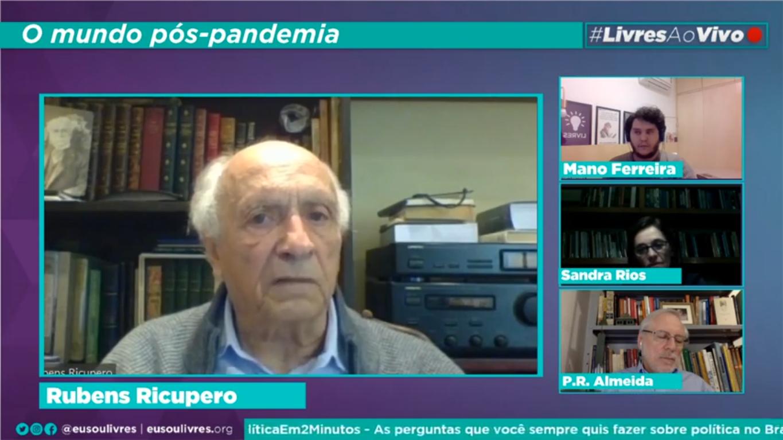 """""""Eu desejaria um sistema para detectar pandemias como se detecta um incêndio numa floresta"""", diz Rubens Ricupero em live do Livres"""