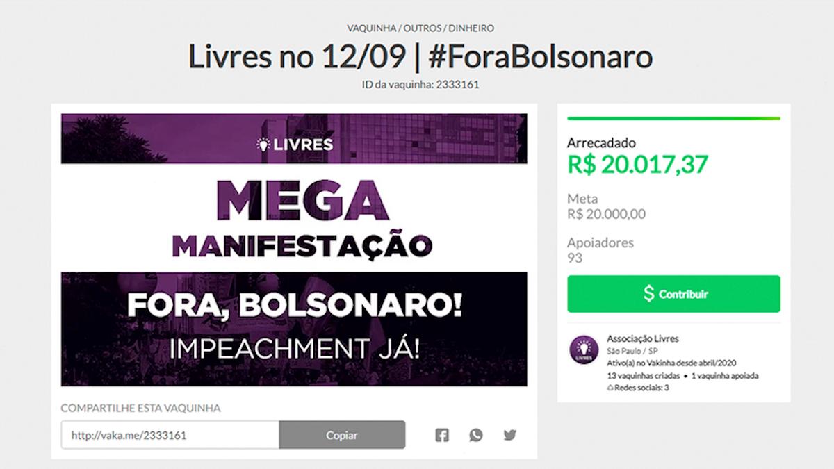 Campanha do Livres para o Fora Bolsonaro bate meta de arrecadação